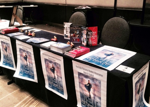 My first book signing! That was my set-up at the excellent Readers & Writers Down Under event on the Gold Coast.