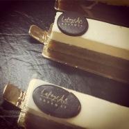 Matcha tea cheesecake slices.